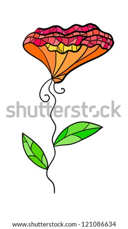 Colorful decorative contrast flower. Fancy stylization. - stock photo