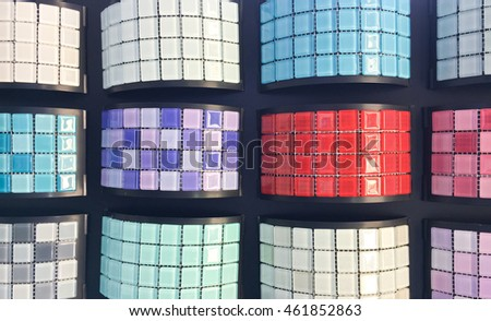 Colorful decorative interior tiles in a shop