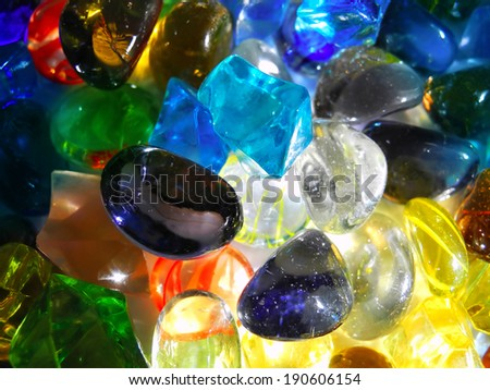 Colorful decorative stones in close up background