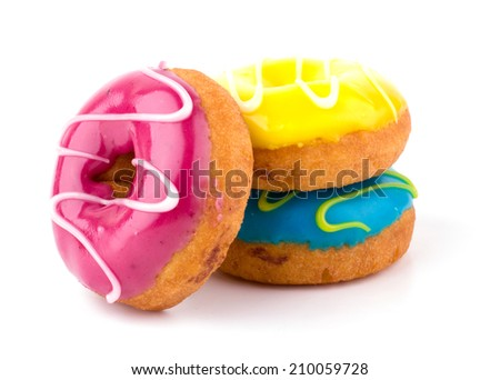 Colorful delicious donuts isolated on white background - stock photo