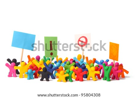 colorful demonstration of plasticine people