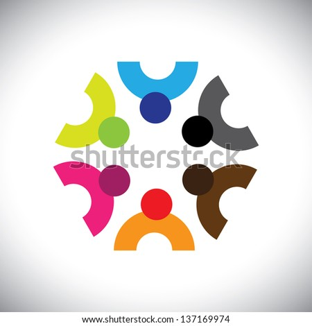Colorful design of a team of people or children icons. This graphic illustration can represent group of kids together or executives in meeting, unity among people, etc. - stock photo