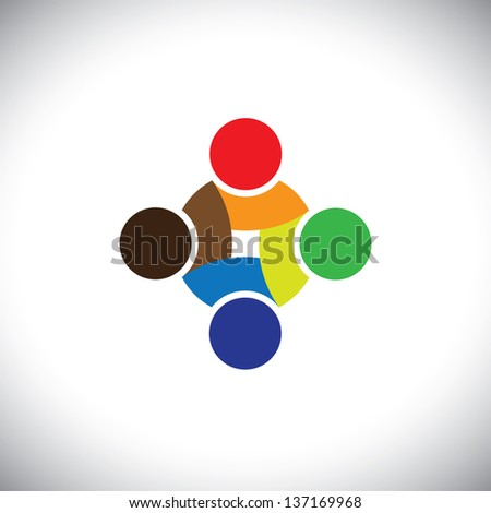 Colorful design of people symbols working as team & cooperating. This graphic illustration can represent unity and solidarity in group or team of people, excellent teamwork, etc - stock photo