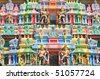 Colorful Designs On The Facade Of A Hindu Temple - stock photo