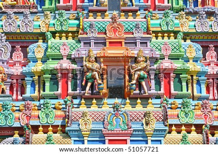 Colorful Designs On The Facade Of A Hindu Temple