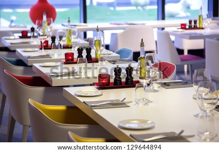 colorful  details in restaurant interior - stock photo