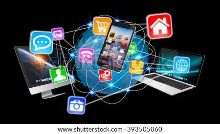 Colorful devices and icons applications interacting with each other - stock photo
