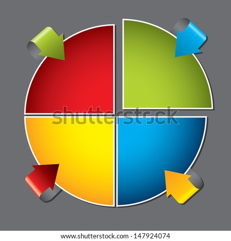 Colorful diagram design with bending arrows pointing to products