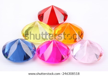 Colorful diamonds on white background, with clipping path