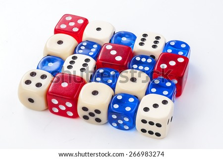 Colorful dice isolated on white
