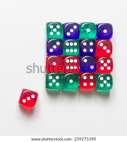 colorful dices background isolated on white