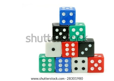 Colorful Dices Stack - stock photo