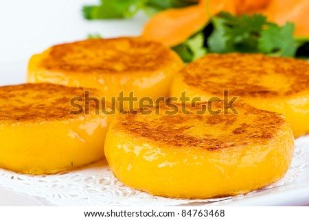 Colorful Dim Sum plate with flat squash dumplings - stock photo
