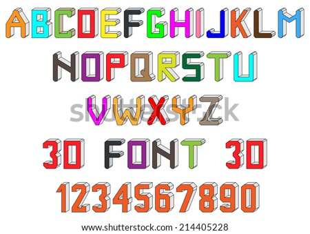 Colorful 3 dimensional custom English alphabet font and numbers - stock photo