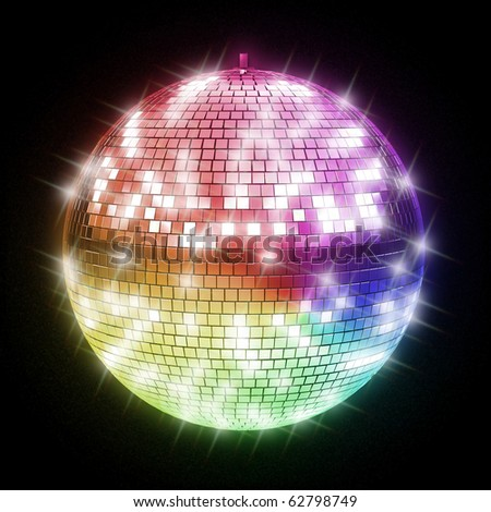 colorful disco ball - stock photo