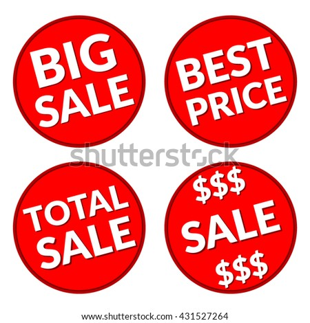 Colorful discount signs. Red labels. Icons for special offer. Typography background. Red round sale stickers on white background. Design template in coin style. Advertising message.