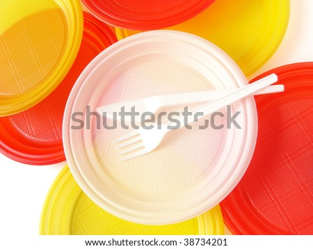 colorful disposable tableware set - stock photo