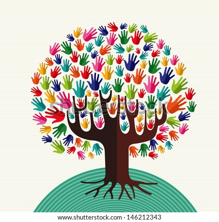 Colorful diversity tree hands illustration over stripe pattern background.
