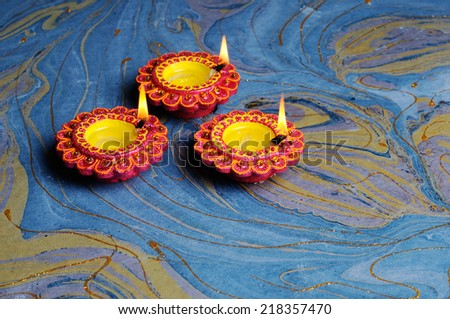 Colorful  diwali with beautiful lamps,Lamps for the Hindu Diwali Festival - stock photo