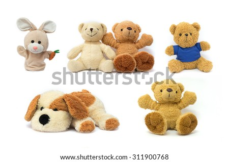 Colorful Doll and Toys Collection teddy bear,plush toy dog and rabbit sock puppet  isolated on white background - stock photo