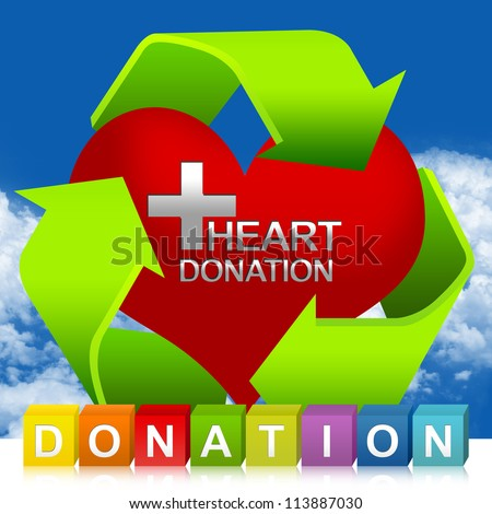 Colorful Donation Cube Box And Green Recycle Sign Around Red Heart With Silver Metallic Cross Sign Inside For Heart Donation Concept In Blue Sky Background - stock photo