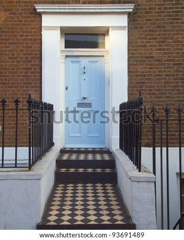 colorful door, Notting hill, London - stock photo