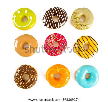 colorful doughnuts - stock photo