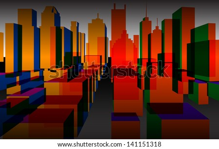 Colorful downtown background, - stock photo