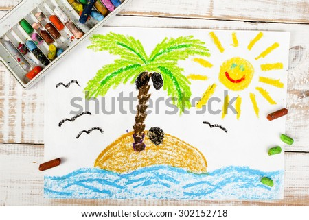 colorful drawing: a desert island - stock photo