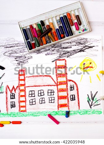 colorful drawing: factory with the smoking chimneys - stock photo