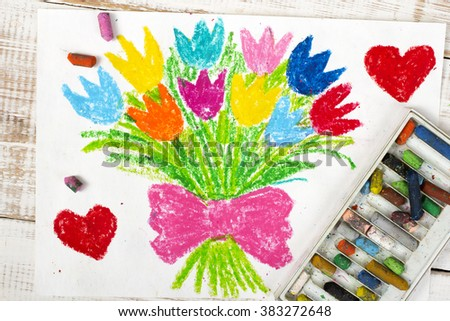 colorful drawing: tulip bouquet - stock photo
