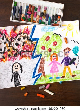 Colorful drawing: War and Peace - two different worlds - stock photo