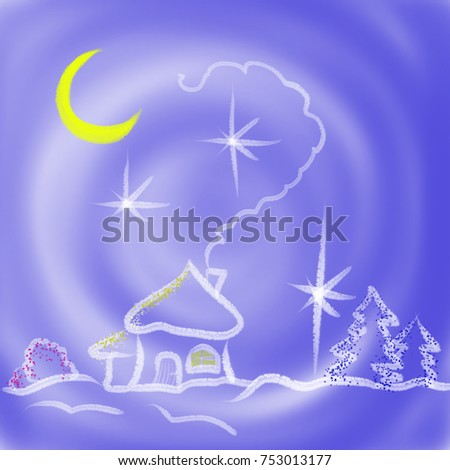 Colorful drawn  abstract village in winter with Christmas trees and moon on blue texture background, isolated cartoon illustration of ukrainian fairytale painted by watercolor, high quality