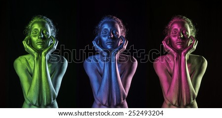 Colorful dreams | Beautiful Women Silver painted body art - stock photo