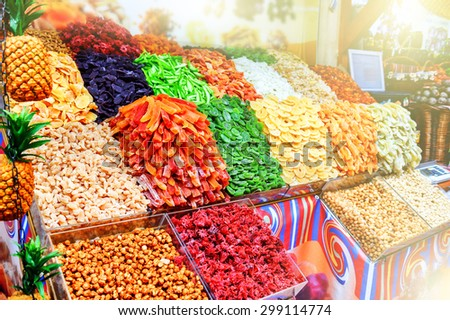 Colorful dried fruits at Mercado Dos Lavradores. Funchal, Madeira - stock photo