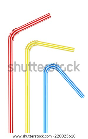 Colorful drinking straws on a white background - stock photo