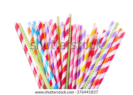 Colorful drinking striped straw isolated on white background