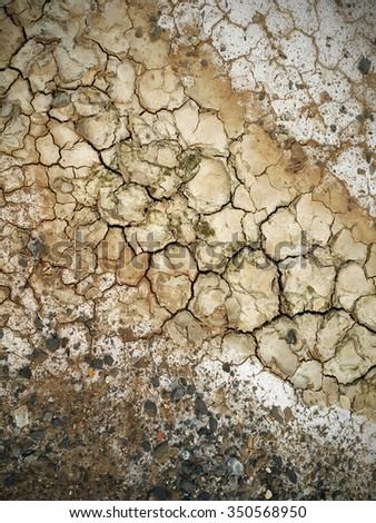 Colorful dry saline soil grunge surface with salt stain and  offshored rocks - stock photo