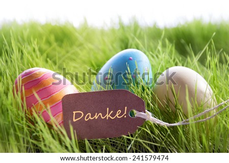 Colorful Easter Background With Three Easter Eggs And Label With German Text Danke On Green Grass For Happy Easter Seasons Greetings - stock photo