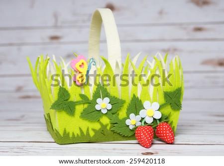 Colorful Easter basket for decoration / Easter basket - stock photo