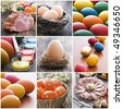 Colorful easter collage made from nine photographs - stock photo