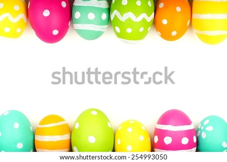 Colorful Easter egg double edge border against a white background - stock photo