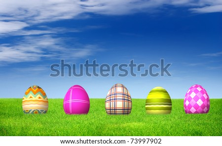Colorful Easter Egg Hunt with striped pattern