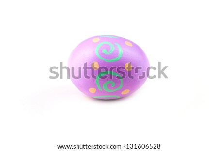 Colorful Easter Egg isolated on white - stock photo