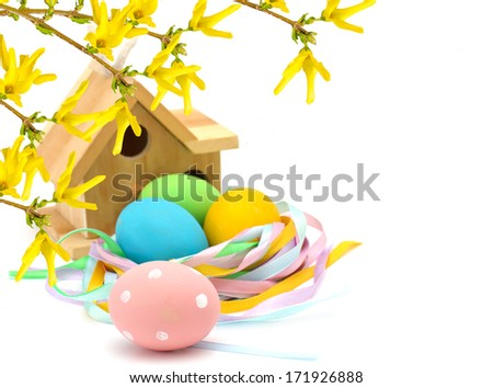 Colorful easter eggs  and bird house with yellow forsythia flowers isolated on white background. Selective focus. - stock photo
