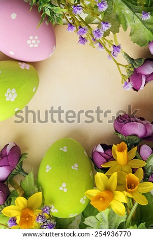 colorful easter eggs and branch with flowers - stock photo