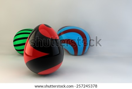 Colorful Easter eggs. 3d render illustration. with space for text - stock photo