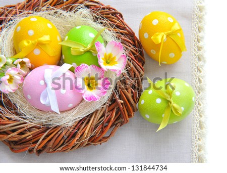 Colorful easter eggs - easter composition