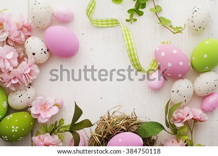colorful easter eggs frame background - stock photo