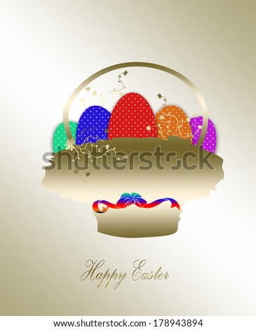 Colorful Easter eggs in a little basket. Easter gold  background - stock photo